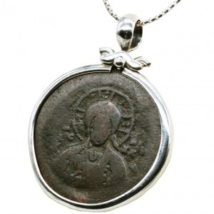 Byzantine Coin with Image Christ the Pantocrator – Silver Pendant