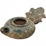 Roman Period Bronze Oil Lamp - Grape Leaf