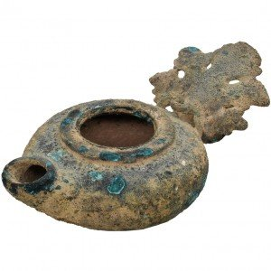 Authentic Rare Roman Period Bronze Oil Lamp – Grape Leaf