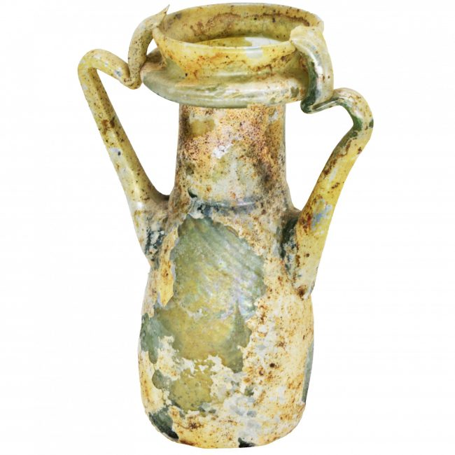 Two Handled Roman Glass Bottle - Great Patina - Discovered in Hebron