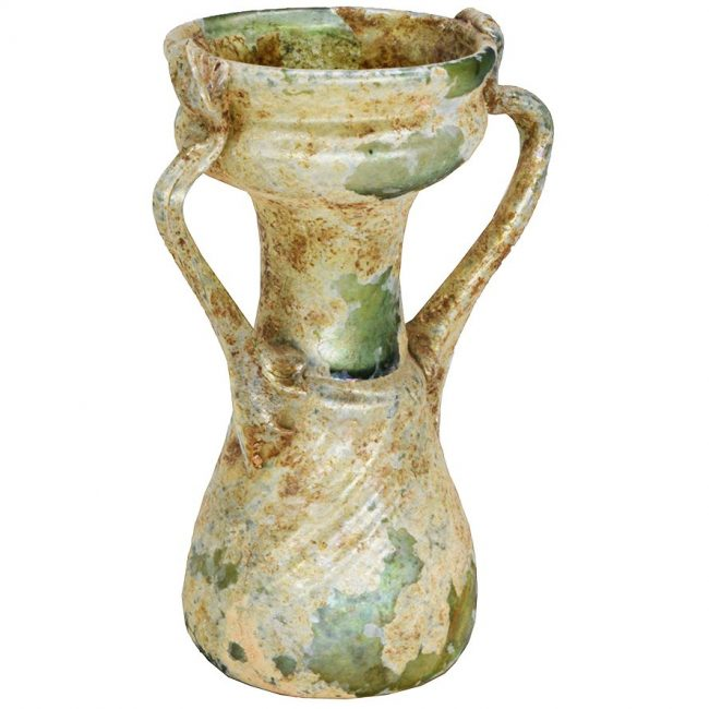 Two-Handled Roman Glass Bottle - Great Patina - Discovered in Hebron