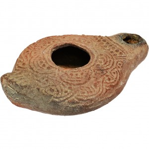 Authentic Byzantine Christian Clay Oil Lamp Beautiful Design