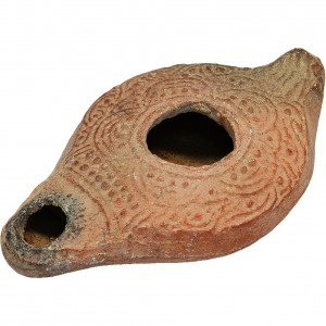 ancient christian clay oil lamp a
