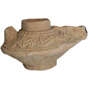Ancient Clay Islamic Oil Lamp – Decorated – Found in the Holy Land