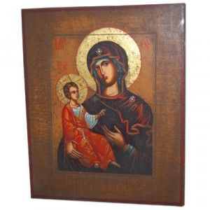 Hand Painted Christian Icon – Mary and Jesus – Early 1900's