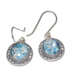 Genuine Roman Glass Earrings – Round Decorated 925 Silver Frame
