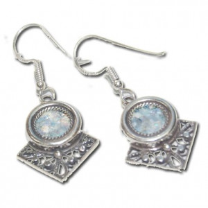 Authentic Roman Glass in 925 Sterling Silver Earrings