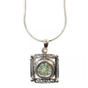 Square Roman Glass Pendant – Made in Israel