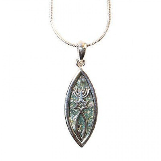 Messianic Seal Necklace - Roman Glass and Sterling Silver Pendant