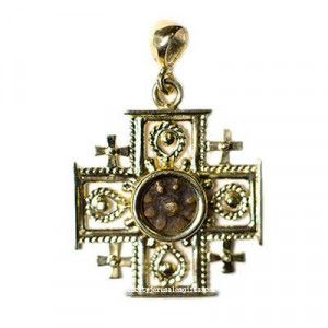 Widow's Mite Coin with 14k Gold 'Jerusalem Cross' Bezel