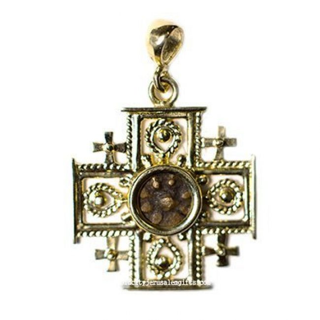 14k 'Jerusalem Cross' Pendant with genuine Widow's Mite