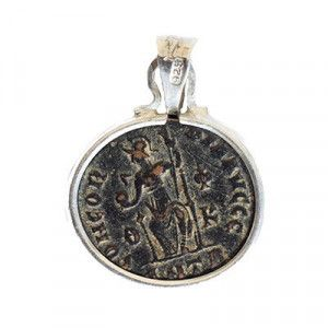 Bronze Constantine Coin (332 A.D.) in Silver Pendant Frame