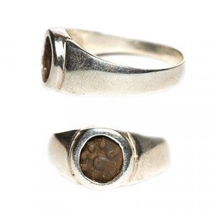Genuine Widow's Mite Coin set in Sterling Silver Ring