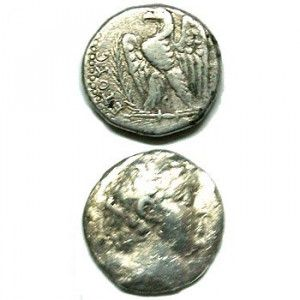 Silver Greek Tetradrachma of Ptolemy IV (204 B.C). Found in Israel