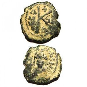 King Justinian Bronze Byzantine Coin with Christian Symbols