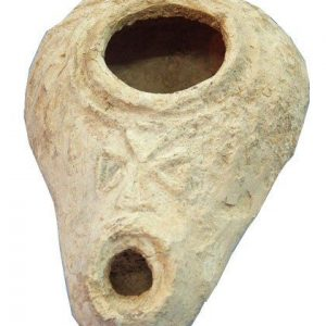 Byzantine Christian Clay Oil Lamp with Cross Design