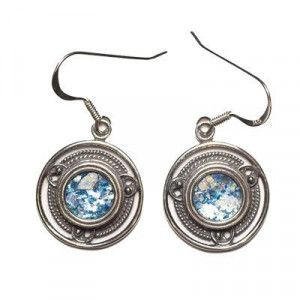 Earrings with Roman Glass set in Round 925 Silver Frame