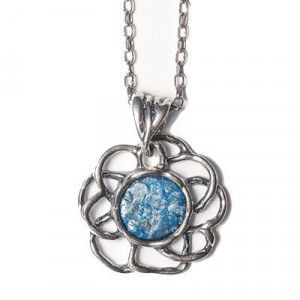 Roman Glass Flower – Silver Pendant – Made in Israel