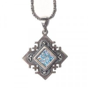 Pointed Jerusalem Cross With Roman Glass Pendant