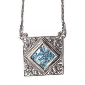 Roman Glass Square Pendant – Made in the Holy Land