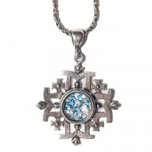 Jerusalem Cross Roman Glass Pendant – Made in the Holy Land