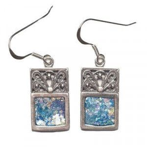 Roman Glass Rectangle Earrings – Made in the Holy Land
