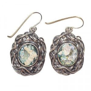 Roman Glass Oval Earrings – Set in Decorated Silver Frame