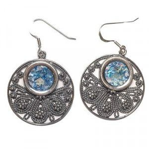 Roman Glass Earrings (Circle) – Made in Israel