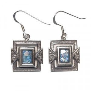 Roman Glass Earrings (Rectangle) – Made in the Holy Land