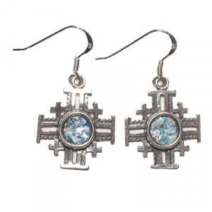 Roman Glass Jerusalem Cross Silver Earrings