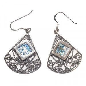 Roman Glass Silver Earrings Triangle – Made in Israel