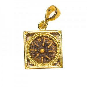 The Widow's Coin in a 14k Gold Square Frame Pendant