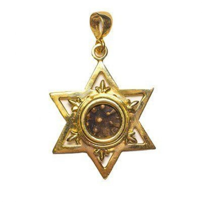 Widow's Mite in 14k Gold Star of David Pendant
