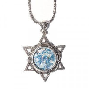Star of David Roman Glass Pendant – 925 Silver – Made in Israel