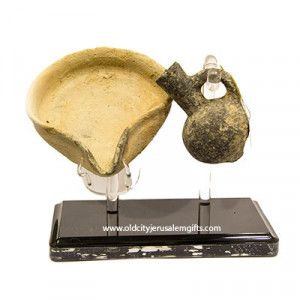 King David Period Oil Lamp & Oil Lamp Filler set- Discovered In Jerusalem