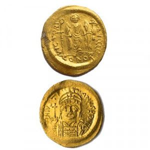 Maurice Tiberius Ancient Gold Byzantine Coin – Found in Jerusalem
