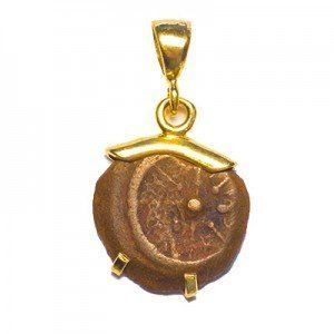 Widow's Mite New Testament Coin from Jesus Time in 14k Gold Pendant