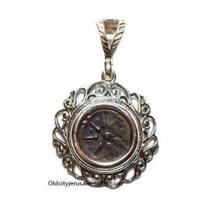 Genuine Widow's Mite Coin in A Silver Frame Pendant