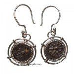 women earring with ancient coin silver