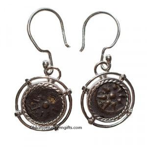 "Genuine Biblical ""Widow's Mite"" Coin In Silver Earrings"