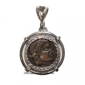 Constantine the Great Coin – 33 A.D. Bronze Coin in a Silver Pendant