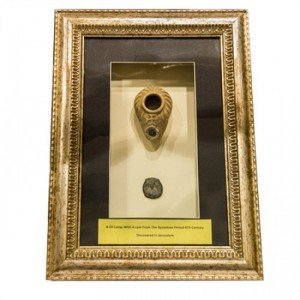 Framed Byzantine Oil Lamp and Coin