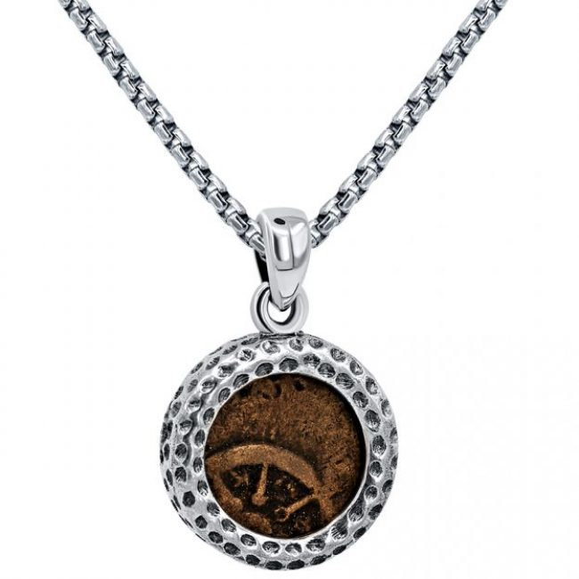 Widows Mite coin necklace hammered silver 2