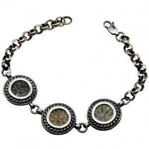 """Jewish Coin The """"Widow's Mite"""" in a Silver Bracelet"""