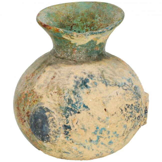 Authentic Fourth Century Byzantine Glass Perfume Bottle - Israeli Antiquities (back view)