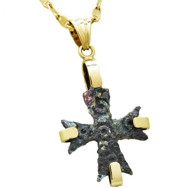Authentic 6th Century Bronze Byzantine Cross in 14k Gold Pendant