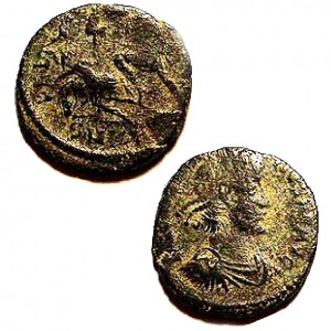 Bronze coin of Roman Emperor Maximus (230 A.D.).