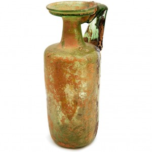 Roman Glass Cylindrical Vase with Handle