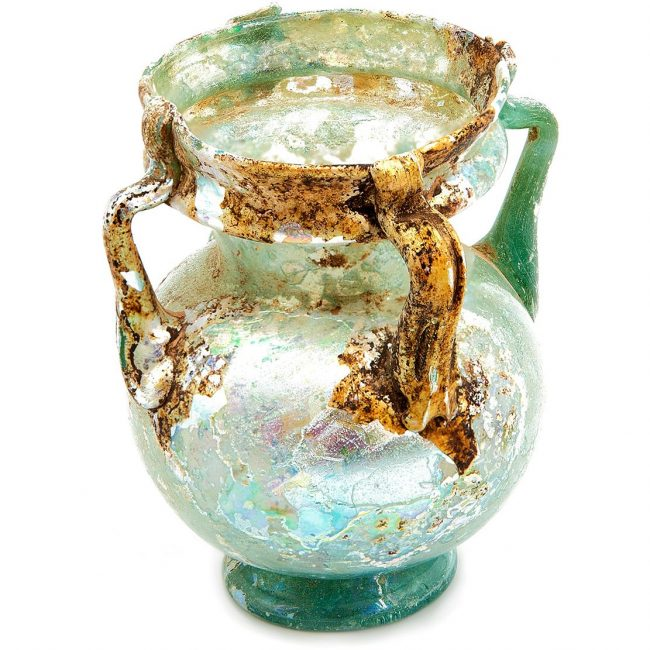 Four Handled Roman Glass Vase Blue Green Patina