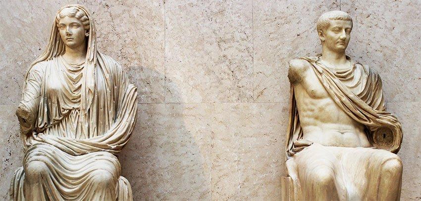Roman emperor Tiberius and his mother Livia,